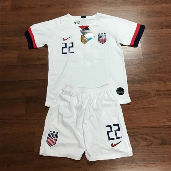 official photos c2756 45097 2019 US Women's Soccer Jersey Kids Set #22 Pugh NWT